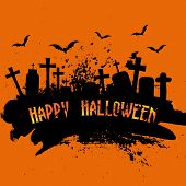 Spooky grunge Halloween background with gravestones and bats