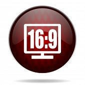 16 9 display red glossy web icon on white background