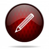 pencil red glossy web icon on white background