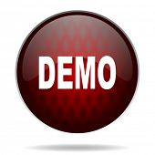 demo red glossy web icon on white background