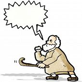 cartoon old man shaking stick