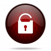 padlock red glossy web icon on white background