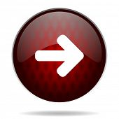 right arrow red glossy web icon on white background