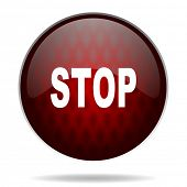 stop red glossy web icon on white background