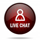 live chat red glossy web icon on white background