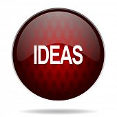 ideas red glossy web icon on white background
