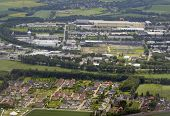 DORTMUND, GERMANY - JUNE 22, 2013: Aerial view to the plants of Brillux and other companies from  an