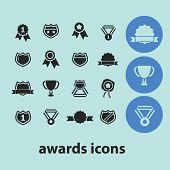awards, winners, labels, icons, signs, illustrations, silhouettes set, vector on blue background
