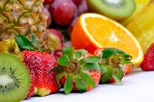 fresh tropical fruits in studio