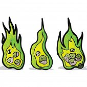 flaming green meteor cartoon