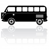 Camper van silhouette vector icon