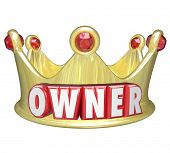 Owner word in red 3d letters on a gold crown to illustrate the power and control of propery or home ownership