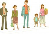 Illustration Featuring a Group of People Waiting at a Pedestrian Lane