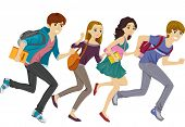Illustration Featuring Teen Students Running