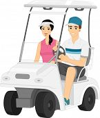 stock photo of ladies golf  - Illustration Featuring a Couple Driving Around in a Golf Cart - JPG