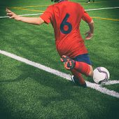 Soccer corner kick with retro effect.