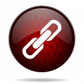 link red glossy web icon on white background