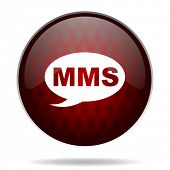 mms red glossy web icon on white background