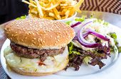 Cheese burger - American cheese burger with Golden French fries