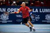 SEPTEMBER 26, 2014 - KUALA LUMPUR, MALAYSIA: Kei Nishikori of Japan prepares to hit a forehand return in his match at the Malaysian Open Tennis 2014. This event is an ATP sanctioned tournament.