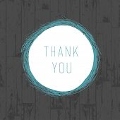 Thank you vintage greeting card with wooden background. Vector
