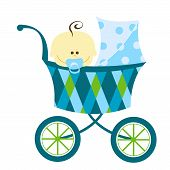 picture of baby face  - sweet baby boy in blue and green carriage - JPG