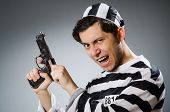 picture of inmate  - Funny prison inmate with gun - JPG