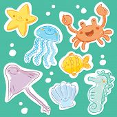 Cute Sea creatures vector set