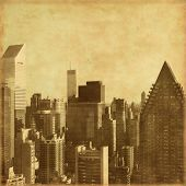New York City Manhattan skyline in grunge and retro style.