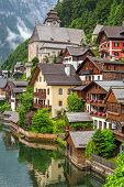 Architecture of Hallstatt village in Alps, Austria
