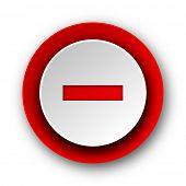 minus red modern web icon on white background