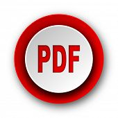 pdf red modern web icon on white background