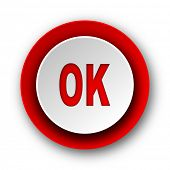 ok red modern web icon on white background