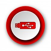 usb red modern web icon on white background