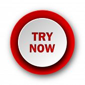 try now red modern web icon on white background