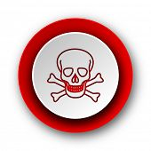 skull red modern web icon on white background