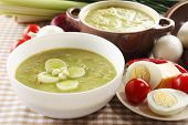 stock photo of leek  - Leek soup on table - JPG