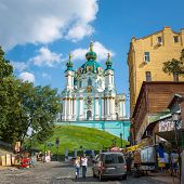 UKRAINE, KYIV - 10 Aug, 2014: Saint Andrew orthodox church is a major Baroque church in Kyiv, Ukraine. The church was constructed in 1747-1754 by Italian architect Bartolomeo Rastrelli