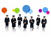 Graduating Students With Speech Bubbles