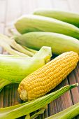 stock photo of corn  - the sweet corn on wooden table - JPG