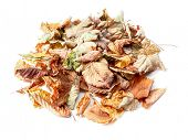 Pile of dead fall leaves shot on white