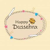 stock photo of navratri  - Stylish text of Happy Dussehra with funny face surrounded by crackers and stars - JPG