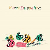 Poster of Dussehra celebration with colourful text, funny faces and crackers on light orange background.