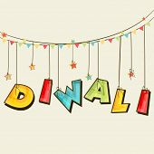 stock photo of laxmi  - Illustration of colourful  hanging text of Diwali and stars binding with rope and line of small flags - JPG