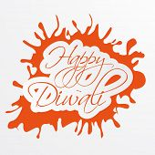 picture of laxmi  - Illustration of beautiful text to wishing Diwali in orange frame - JPG