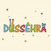 Illustration of stylish text of Dussehra with decorated crackers and funny Ravan face on stars decorated background.