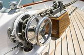 Close-up of winch on yacht