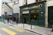 PARIS - SEPTEMBER 06: Starbucks cafe exterior on September 06, 2014 in Paris, France. Paris, aka City of Love, is a popular travel destination and a major city in Europe