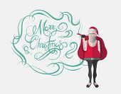 Merry christmas message vector in cursive green with hipster santa on white background