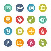 Education Icons // Fresh Colors -- Icons and buttons in different layers, easy to change colors.
